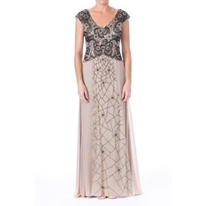 NWT Sue Wong Embellished Cap Sleeve Gown Sz 4/6